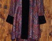 80s Vintage Suit 80s Does 40s Suit Purple Paisly Brocade with Black Velvet Trim Swing Coat with Pencil Skirt