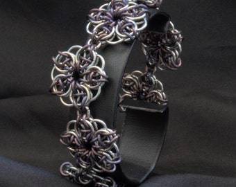 Celtic Flowers - Chainmaille Surgical Steel and Anodized Titanium Bracelet