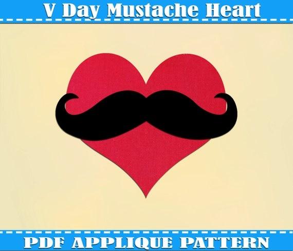 Heart Mustache Applique Pattern Template Valentines Day PDF Download ...