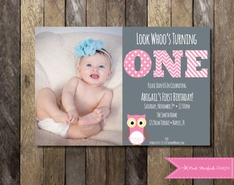 Owl First Birthday Invitation with Picture, Owl Birthday Invitation, Printable Invitation, Owl Invitation, Pink, Owl, Invite with Picture