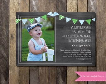 Chalkboard First Birthday Invitation, Chalkboard Birthday Invitation with Picture, One, 1st Birthday Invitation, First Birthday, Chalkboard