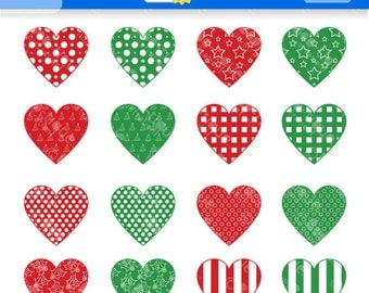 Christmas Hearts Clipart for Instant Download. Christmas Hearts Clip Art. Xmas clip art. Christmas Clipart. Red Hearts Clipart.
