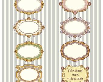 Collection of 8 different sweet vintage vector labels with golden frames, Clip-art Embellishments Instant Digital Download
