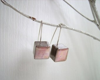 Dangle earrings pastel pink ceramic cubes, sterling silver, geometric earrings