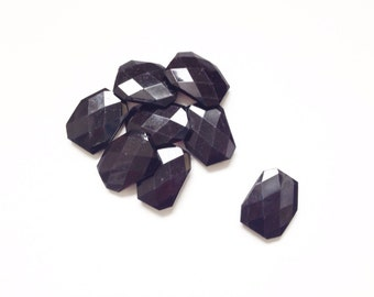 Onyx Black Large Faceted Beads - 39mm x 29mm x 7mm - Set of 8 Beads - Jewelry Making Supplies,  Bold, Polygon, Geometric