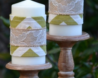 Burlap and Lace Candle Wraps - Green and Cream Chevron - Set of Two