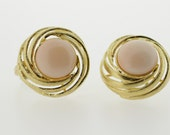 18k Gold Clip Earrings with Coral