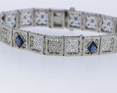 Sapphire Blue Kite-shaped Glass and Diamond Bracelet 14K Gold
