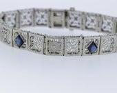 Sapphire Blue Kite-shaped Glass and Diamond Bracelet 14K Gold