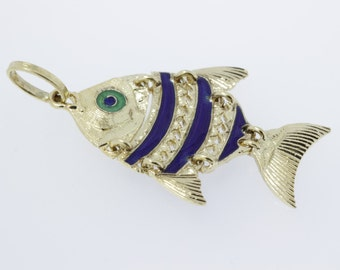 Chain Linked Fish Pendant with Enamel 18K Gold