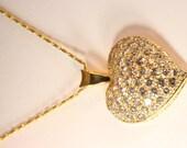 14k yellow gold diamond heart pendant 2.50 carats         free ship. m105244.