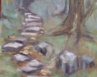 Woodland path Landscape Painting - From Padarn Country Park Wales - Acrylic painting on canvas - Impressionist trees and stones - UK art