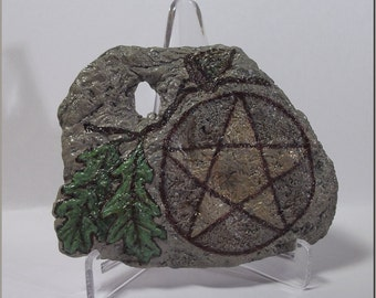 Oak Leaf and Acorn Pentacle Naturally Holey Fossil Hag Stone Hand Painted Spiritkeepers Pentagram Amulet with Display Stand