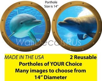 Dolphin Pictures, Dolphin Games, Porthole Window, Bottlenose Dolphin, Dolphin Wall Decals, Wall Art, Wall Decor O9O21