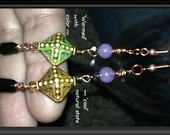 Color Change MOOD Beaded EARRINGS: Amethyst Banded Agate,Mirage Moon Aurora Diamond Beads,Howlite,Emerald Crystals,Copper French Earwires - TwinklingOfAnEye