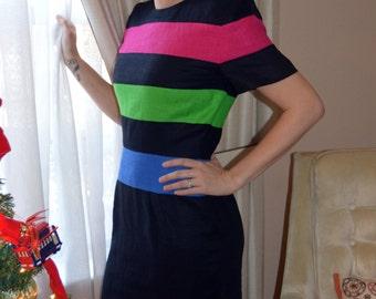 SALE 80's Vintage Scaasi Dress Black with Pink Green and Blue Stripes, Designer Vintage