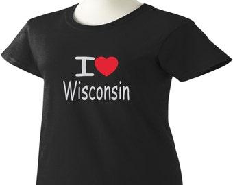 I Love Wisconsin T-Shirt Heart WI Womens Ladies