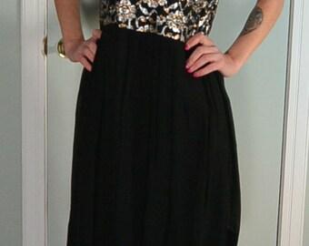 Silver and Gold Disco Dress//70s dress//Glam Dress//Disco Dress//70s Dress