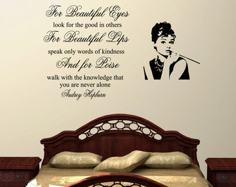 For Beauiful Eyes Audrey Hepburn Wall Decal Quote Sticker