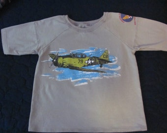 Upcycled WWII Fighter Command Airplane Tshirt, Boy's size 7 / 8