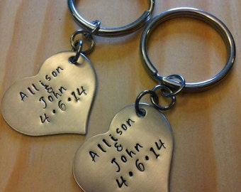 Hand Stamped Personalized Keychain Couples Keychain - Wedding Gift or Anniversary Gift