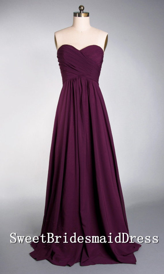 Strapless Sweetheart Purple Empire Long Chiffon Dress Bridesmaid Dress Homecoming Dress Prom Dress Evening Dress Party Dress Formal Dress