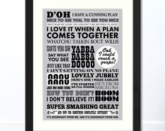 TV Catchphrases 70s/80s/90s Typographic Print | Available Framed or Unframed