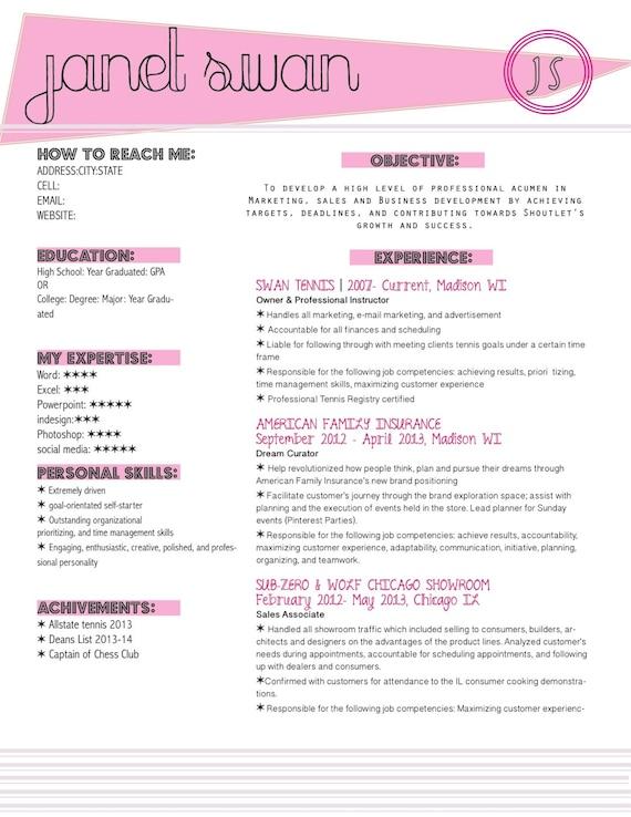items similar to preppy resume on etsy