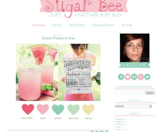 Premade Blogger Template Sugar Bee girly soft color pink - 14