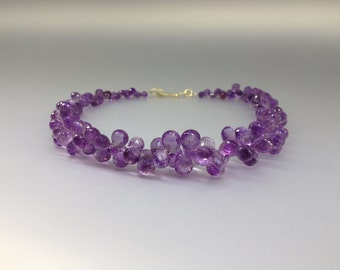 Fabulous Amethyst drops necklace - Statement collier - with Sterling silver 14K gold plated special clasp - gift idea - faceted purple gems