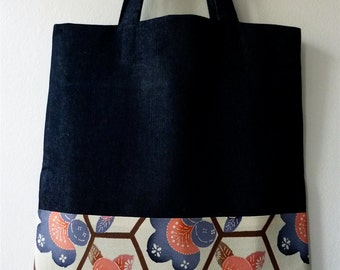 Pink Tachibana Vintage Japanese Kimono Silk and Denim Handmade Tote Bag