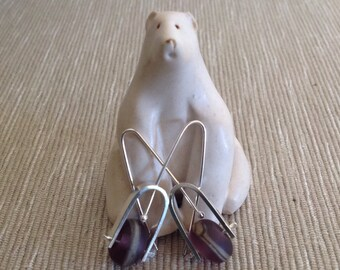Sterling silver and purple glass dangle earrings; plum lampwork glass, kenetic earrings