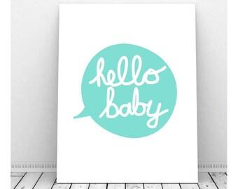 Hello Baby Nursery Print, Hello Print, Hello Paper, Hello Sign, Hello Wall Art, Instant Download, Hello Printable, Nursery Art