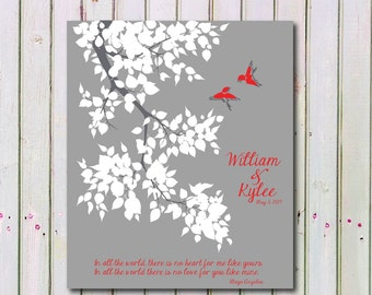 Personalized Wedding Tree Art Print, In All the World No Love For You Like Mine, Anniversary Print Gift, Wedding Art Print Gift 142