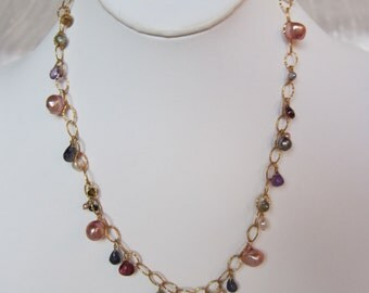 Purple Amethyst, Citrine, Garnet, Iolite, Pearl, other Semi-Precious Stone Handmade Necklace with 14K Gold Filled Chain
