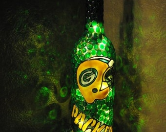Green Bay Packers Lighted Wine Bottle