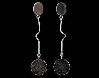 Long Silver Earrings with Lava Stone, Sterling Silver Earrings