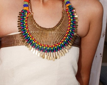 Beaded Necklace/Bridesmaid Necklace/Statement Necklace/Bib Necklace/Multicolour Necklace/Bohemian Spikes Necklace
