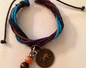 YEAR of the HORSE Cowgirl leather/hemp horseshoe nail bracelet. - BitsNPieces4Horses