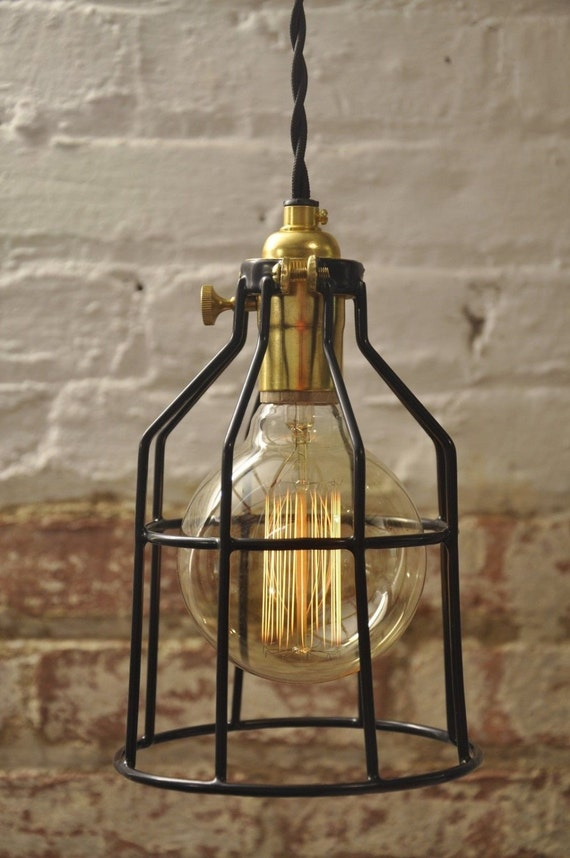 metal bulb guard brass on off switch lamp light cage pendant. Black Bedroom Furniture Sets. Home Design Ideas