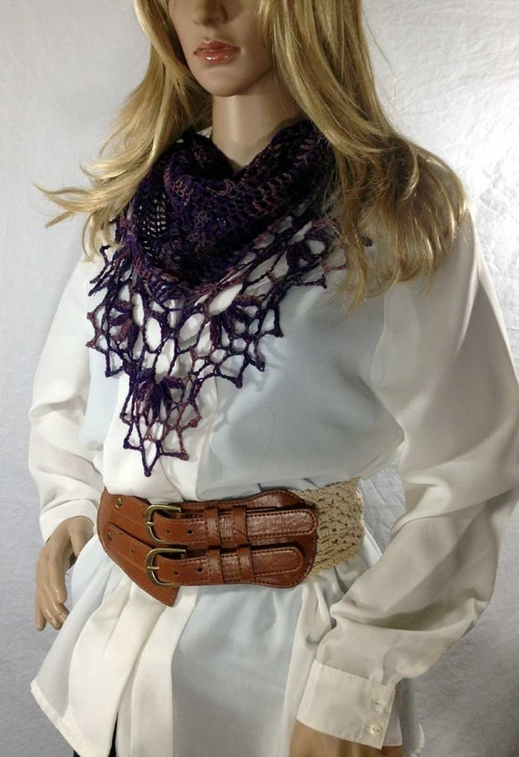 Deep Purple Triangle Scarf / Shawlette, Western Lace, Hipster