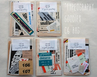 Typography Instant Collage Kit- lucky dip lettering type vintage ephemera / Scrapbooking / Decoupage / Mail Art