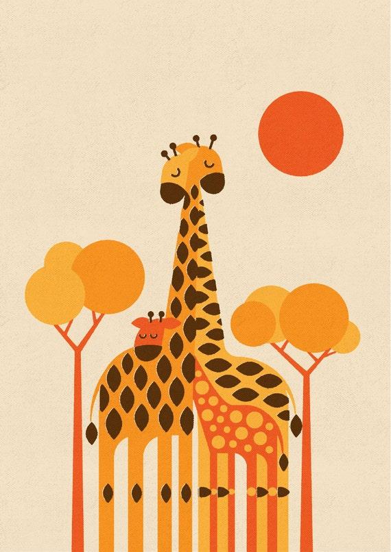 Giraffe Family, Retro Print, Wall Art, Home Decor