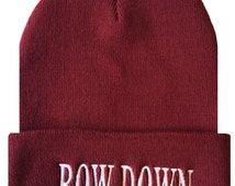 BOW DOWN Cuffed Beanie  Cap Hip Hop Hat Burgundy/White