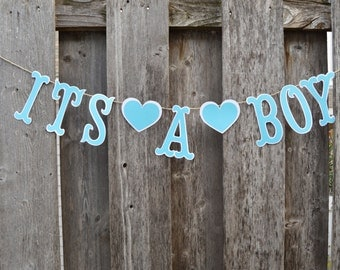 It's a boy banner, Baby shower boy banner, Gender reveal banner, blue baby banner, it's a boy