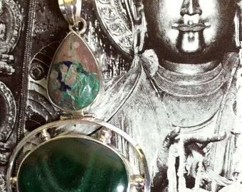 Labradorite & Rutilated Quartz or Malachite/ Chrysocolla Pendant. Sterling Silver, Hinged, Blue, Green, free US ship