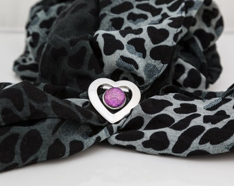 Silver plated heart scarf clip with dichroic fused glass centre in pink shimmer valentine