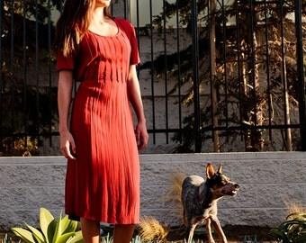 Vintage 80s Scarlett Red Crinkled Rayon Dress