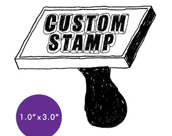 "CUSTOM Rubber Stamp - 1"" x 3"" - Logo, Business, Promotion Stamp 1x3"
