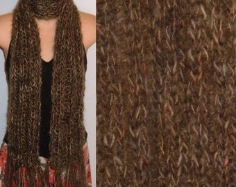 Scarf Hand Knit Handpainted Wool Mohair Chunky Fringed brown